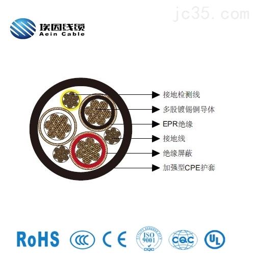 三芯圆形移动电力电缆CPE护套